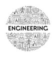 science and engineering line icons on emblem or vector image vector image