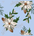 seamless pattern with poinsettia pines vector image