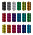set colorful spools thread reels vector image vector image