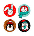 set of cute cartoon christmas characters vector image vector image