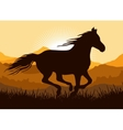 Silhouette of a running horse vector image