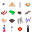 South Korea icons set isometric 3d style vector image vector image
