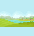 summer rural landscape with houses and river vector image