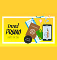 travel promo horizontal flyer with text vector image vector image