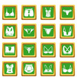 underwear types icons set green square vector image vector image