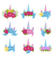 unicorn beautiful tiaras with bright flowers set vector image