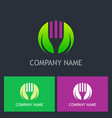 vegetarian fork green leaf logo vector image vector image