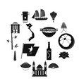 vietnam icons set simple style vector image vector image