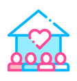 volunteers support house thin line icon vector image
