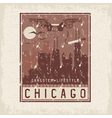 old style grunge vintage retro poster with Chicago vector image