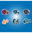 olor icons with different fish vector image