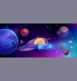 alien spaceship flying in cosmos between planets vector image vector image