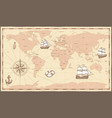 antique world map vintage compass and retro ship vector image vector image