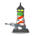 army lighthouse character cartoon style vector image