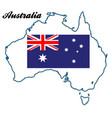 australia map and flag vector image vector image
