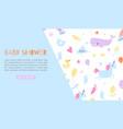 baby boy shower blue banner vector image