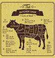 butcher shop of cow farm vintage vector image