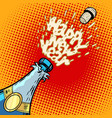 champagne bottle opens foam and cork vector image vector image