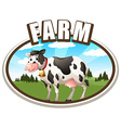 Cow standing in the farmland vector image