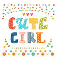 Cute girl card Cute greeting card vector image vector image