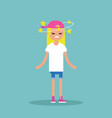 dizziness conceptual young blond girl with stars vector image vector image