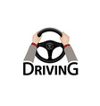 driving car sign diver with hands holding vector image vector image