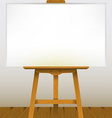 Easel with a blank canvas on a wooden floor vector image vector image