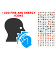 face violence strike icon with bonus fire vector image