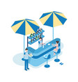 female tourist in beach bar isometric vector image