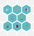 flat icons turntable audio box harmonica and vector image vector image