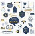 flat navy blue and orange christmas icons set vector image vector image