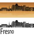 Fresno V2 skyline in orange vector image vector image
