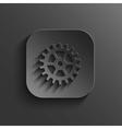 Gear icon - black app button vector image
