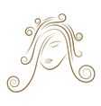 girls face gold sketch vector image vector image