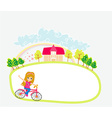 Happy Driving Bike with Cute Smiling Young Girl - vector image vector image