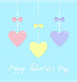 happy valentines day sign symbol pink blue yellow vector image vector image
