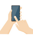human hand holding smartphone with blank vector image