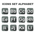 Icons set alphabet on the grey background vector image vector image