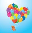 Image with colorful balloons in heart shape and te vector image vector image