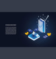 isometric return on investment roi onsmartphone vector image vector image