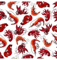 Lobsters and shrimps seamless pattern vector image vector image