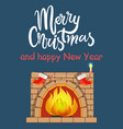 merry christmas and fireplace vector image