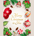 merry christmas card with decorative elements vector image