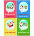 merry christmas happy new year poster santa elf vector image vector image