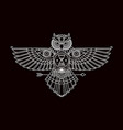 mono line flying owl bird