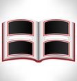 Open red book on grayscale vector image vector image