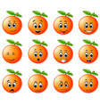 orange with different emoticon vector image vector image