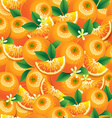 Orange with leaves and flowers seamless pattern vector image vector image