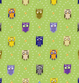 Pattern with cute owls vector image vector image