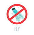 red prohibition stop sign with crossed fly vector image
